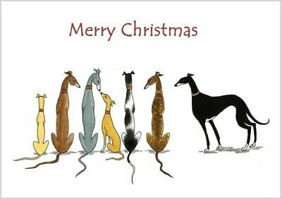 £3.40 • Buy 4082 Dianne Heap Christmas Card Greyhound Whippet Lurcher Dogs Painting Art Xmas