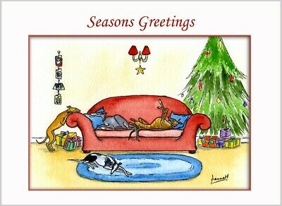 £3.40 • Buy Christmas Card Greyhound Whippet Lurcher Dogs Painting 6132 Dianne Heap Art Xmas