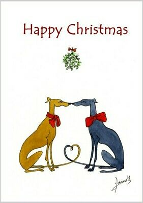 £3.40 • Buy 6232 Dianne Heap Christmas Card Greyhound Whippet Lurcher Dogs Painting Art Xmas