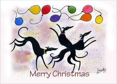 £3.40 • Buy 6718 Dianne Heap Christmas Card Greyhound Whippet Lurcher Dogs Painting Art Xmas