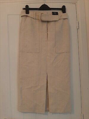 £5 • Buy M&S Collection Beige Cream Gold Belted Midi Tweed Skirt UK10 RRP£35