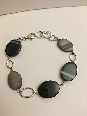 £10 • Buy Sterling Silver 925 Banded Agate And Abalone Shell Bracelet