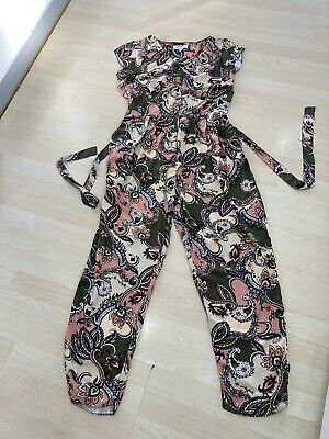 £4.99 • Buy Dorothy Perkins Petite Floral Sleeveless Belted Jumpsuit Size 14