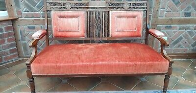 £165 • Buy Antique Settee - Mahogany Marquetry Inlaid Two-seat Couch