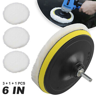 £6.09 • Buy 5pcs 6  Wool Buffing Polishing Pad With Wheel Mop For Car Polisher Drill Adapter