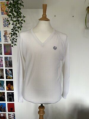 £40 • Buy Vintage 60's/70's Fred Perry White Knit Courtelle Sportswear Jumper Size Large