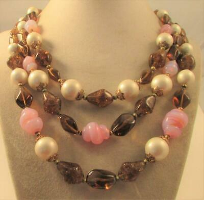 £6.53 • Buy Vintage 50's Chunky Glass Plastic Pearl Bead Necklace 3 Strand Signed Trifari