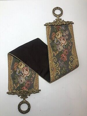 £43.64 • Buy Vintage BELL PULL With Tapestry Floral Motif - Ornate Brass Hardware