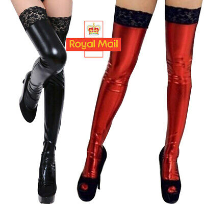 £5.58 • Buy Faux Leather PVC Thigh-high Stockings Latex Wet Look Women Sexy Black Red Socks