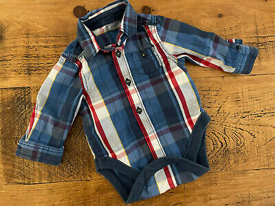£2 • Buy Baby Boy 0-3 Months Mothercare Blue Checked Long Sleeve Shirt Bodysuit VGC
