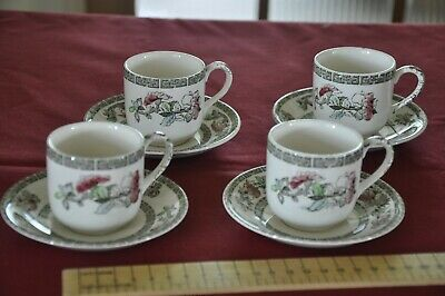 £4.06 • Buy Johnson Bros Indian Tree Set Of 4 Vintage Coffee Cups With Saucers
