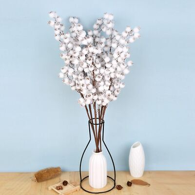 £3.18 • Buy Artificial White Berries Stems Christmas Berry Branch Flower Snow Tree Decor UK