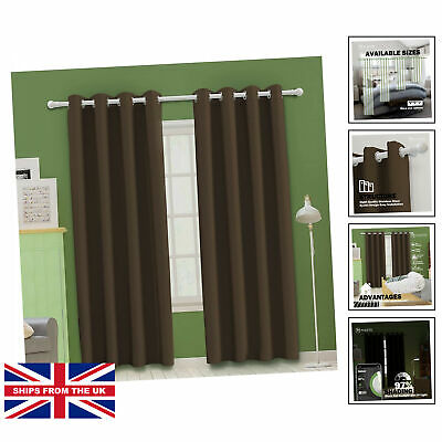 £23.49 • Buy Dark Mocha Bedroom Blackout Curtains, Eyelet Ring Top Thermal Insulated Soft ...