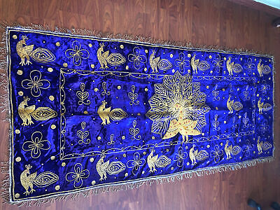 """£58.19 • Buy Vintage Peacock Velvet Beaded Stitched Tapestry Wall Hanging Rug 82""""x44""""Decor"""