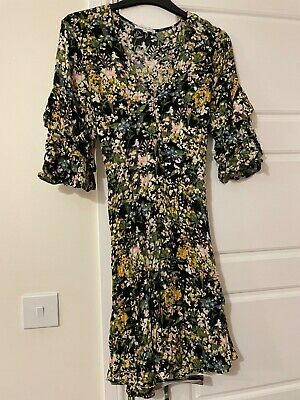 £12 • Buy Warehouse Floral Tea Dress With Ruffle Sleeves And Tie Waist, Size 12