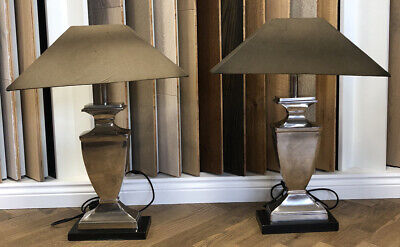 £75 • Buy Coach House Silver Finish Chrome Tall Table Lamps Golden Brown Shade, Set Of Two