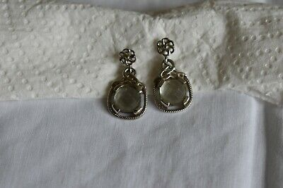£4.99 • Buy Sterling Silver Earrings With A Large Green Amethyst