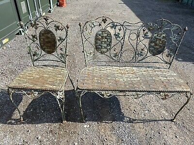 £48 • Buy Wrought Iron Metal Garden Chair Bench Aged Patina Green Paint 50s 60s
