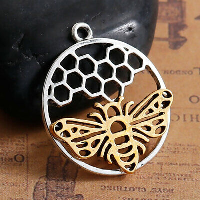 £1.25 • Buy Bee Honeycomb Charms Tibetan Silver Pendant Gold Bumble Honey Pack Of 2