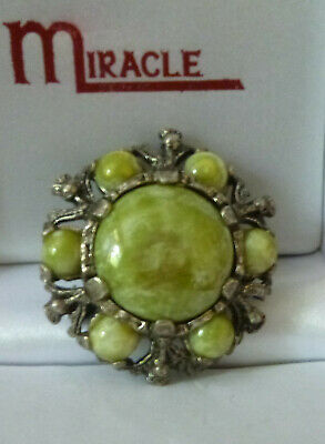 £2.99 • Buy Vintage   Miracle    Scottish Thistle Green Pebble Agate Brooch Pin