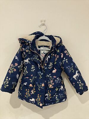 £3.20 • Buy Girls Mantaray Winter Coat With Fur Trim Navy Blue With Horses 12-18 Months
