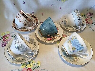 £14.99 • Buy *5 Pretty Vintage Mismatched 🌸 English Bone China Tea Set Cups And Saucers*