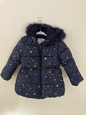 £3 • Buy Girls Tu Winter Coat Fur Lined Blue With Stars 12-18 Months