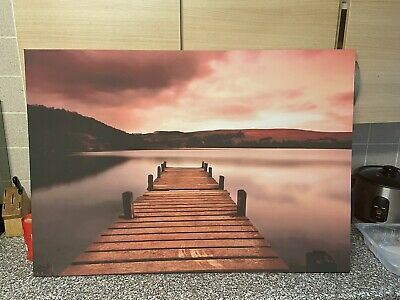 £4.35 • Buy BEACH SEA PIER SUNSET Perfect View Canvas Wall Art Picture L352  MATAGA .
