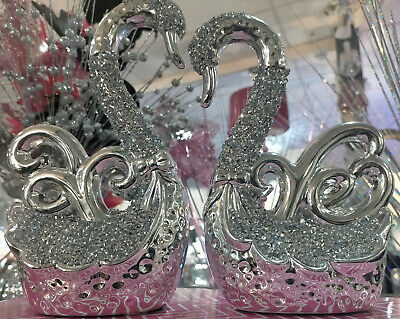 £25.99 • Buy Silver Crushed Diamond Encrusted Pair Of Swans Ornament Bling Diamante Sparkly