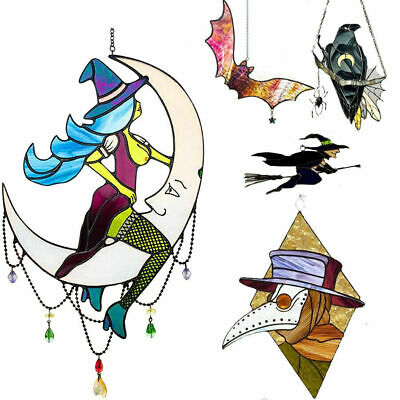 £8.99 • Buy Witch On Moon Decor Stained Suncatcher Window Hanging Outdoor Wall Art Home 1PCS