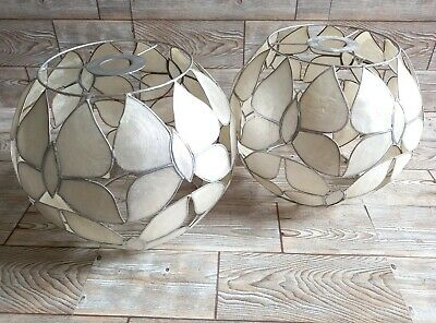 £27.99 • Buy Vintage Capiz Shell Butterfly Silver Ivory Retro Lampshades