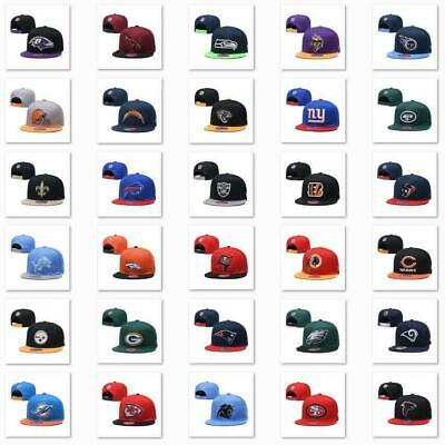 £12.99 • Buy Classic Embroidered NFL Flat Brim Hip Hop Cap Snap-back Sports Hat For Unisex