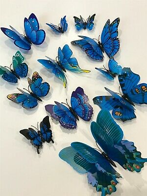 AU5.99 • Buy 12pcs 3D Butterfly Removable Sticker Decals Wall Window Appliance Magnetic Blue
