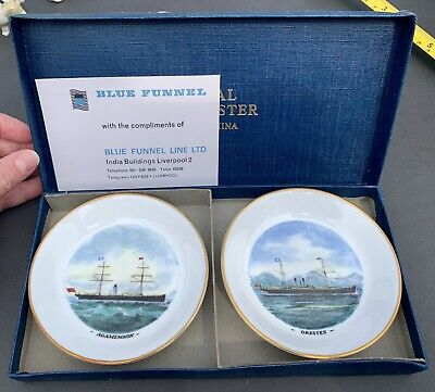 £4.99 • Buy Pair Royal Worcester Bone China Trinket Pin Dishes Agamemnon&Orestes Ships Boxed