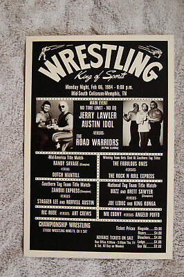 £3.64 • Buy Jerry Lawler Austin Idol  Vs The Road Warriors Wrestling Poster 1980s