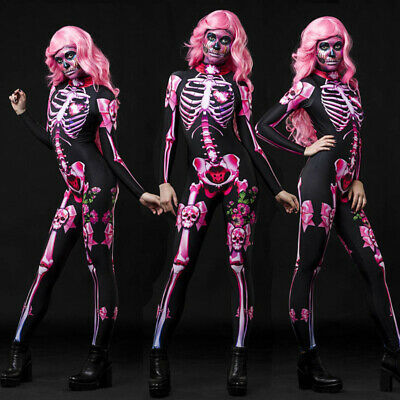 £18.88 • Buy Women Halloween Skeleton Print Costume Stretch Skinny Catsuit Overall Jumpsuit