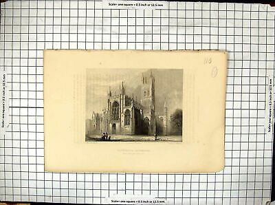 £21 • Buy Antique Old Print Warren Winkles Engraving Gloucester Cathedral Architecture