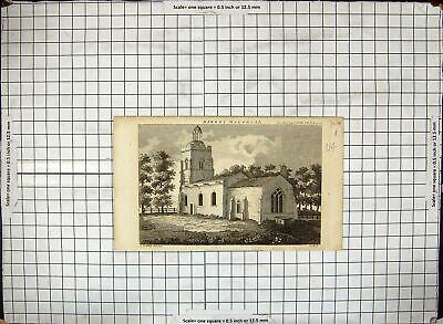 £17 • Buy Old Antique Print Kirkby Maloryse Church Architecture Engraving Griffith