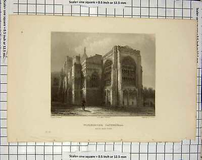 £18 • Buy Original Old Antique Print Winchester Cathedral Architecture Garland Winkles