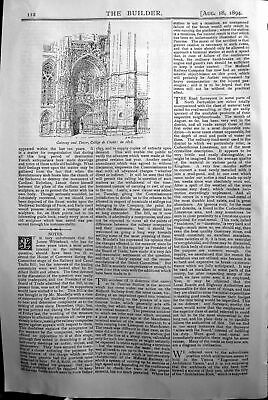 £23 • Buy Old Antique Print Gateway Tower College Cholet Builder 1894 Architecture 19th