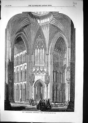 £23 • Buy Original Old Antique Print 1856 Ely Cathedral Octagon Restored Architecture