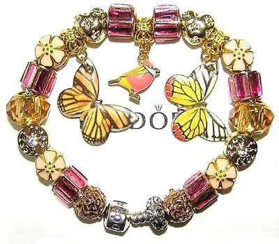 AU177.76 • Buy Authentic PANDORA Bracelet Silver With BUTTERFLY, BIRD GOLD PINK European Charms