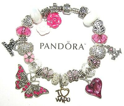 AU177.76 • Buy Authentic PANDORA Bracelet Silver With WIFE MOM BUTTERFLY, GIFT European Charms