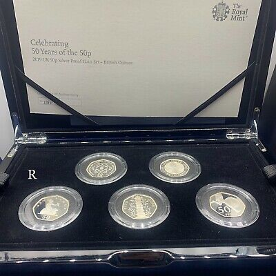 £315 • Buy 2019 Royal Mint 50p Silver 5-Coin Set 50 Years Of The 50p British Culture BoxCOA