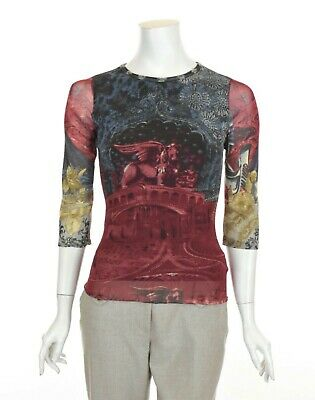 AU129 • Buy SAVE THE QUEEN Stretch Mesh Printed Top 3/4 Sleeve Italy Size S