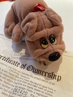 £5 • Buy Vintage 6.5  Pound Puppies Plush Hornby 1984 New Born 80's With Certificate