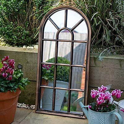 £42.99 • Buy Brushed Copper Window Style Arch Mirror Garden Home Wall Mounted Vintage Outdoor