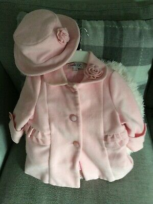 £7 • Buy Baby Girl Hat And Coat 6/9 Months Pink .