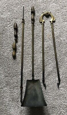 £10 • Buy Vintage Set Of Large Solid Brass Fireside Tools, Tongs, Shovel And Poker.