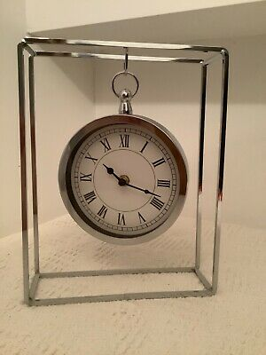 £5 • Buy Decorative Hanging Clock In Chrome Metal Frame - Table/Mantle Clock
